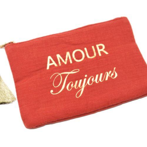 Trousse-Pochette-Coton-Rouge-Orange-Message-Amour-Toujours-Pompon-Dore