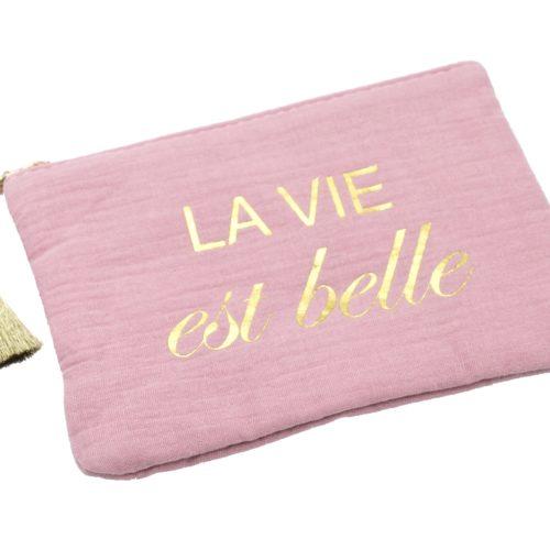 Trousse-Pochette-Coton-Vieux-Rose-Message-La-Vie-Est-Belle-Pompon-Dore