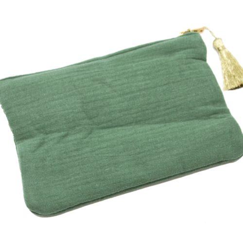Trousse-Pochette-Coton-Vert-Message-La-Vie-Est-Belle-Pompon-Dore