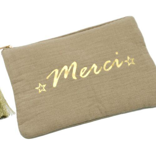 Trousse-Pochette-Coton-Taupe-Message-Merci-Pompon-Dore