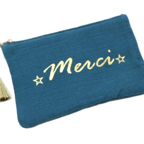 Trousse-Pochette-Coton-Bleu-Canard-Message-Merci-Pompon-Dore