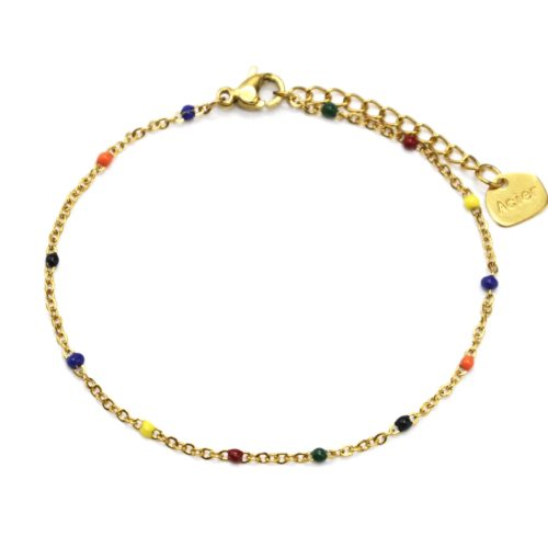 Bracelet-Fine-Chaine-Acier-Dore-avec-Mini-Perles-Email-Multicolore
