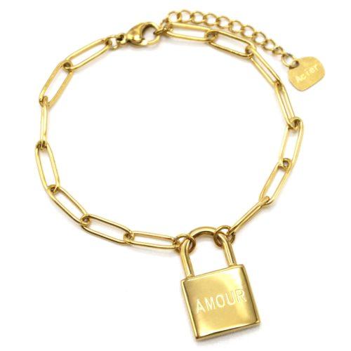 Bracelet-Chaine-Maillons-avec-Cadenas-Amour-Acier-Dore