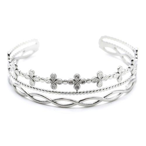Bracelet-Manchette-3-Rangs-avec-Trefles-Billes-et-Boucles-Acier-Argente