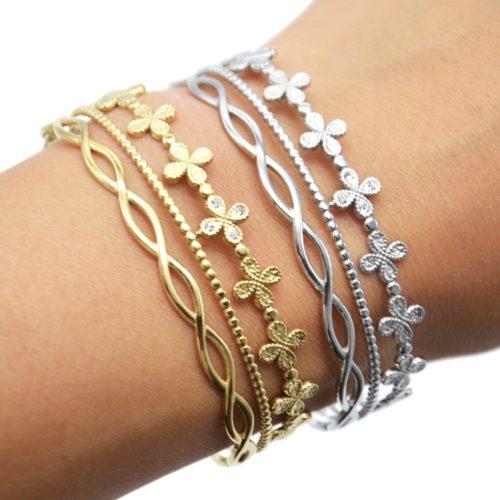 Bracelet-Manchette-3-Rangs-avec-Trefles-Billes-et-Boucles-Acier