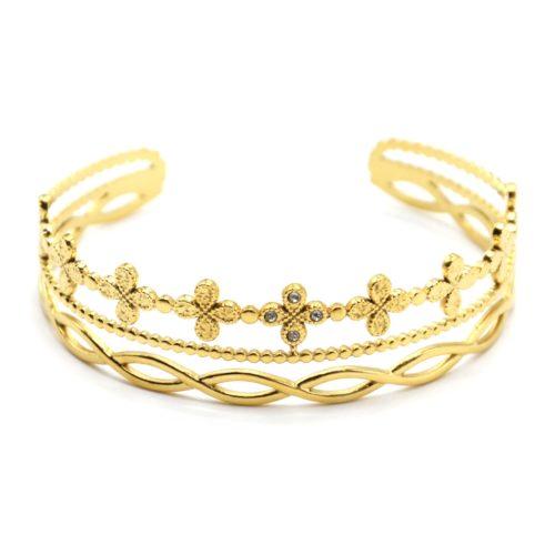 Bracelet-Manchette-3-Rangs-avec-Trefles-Billes-et-Boucles-Acier-Dore