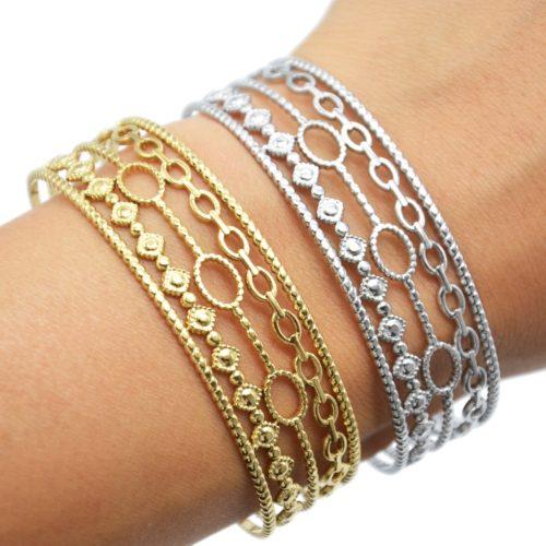 Bracelet-Manchette-5-Rangs-avec-Torsades-Maillons-et-Ovales-Acier