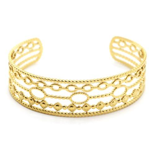 Bracelet-Manchette-5-Rangs-avec-Torsades-Maillons-et-Ovales-Acier-Dore