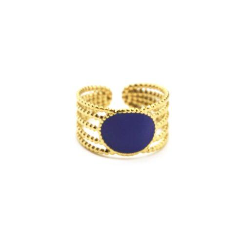 Bague-Large-Multi-Rangs-Billes-Acier-Dore-avec-Ovale-Email-Bleu
