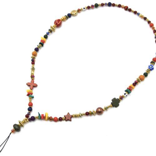 Grand-Cordon-Portable-avec-Trefle-Etoile-Perles-Bois-et-Pierres-Multicolores