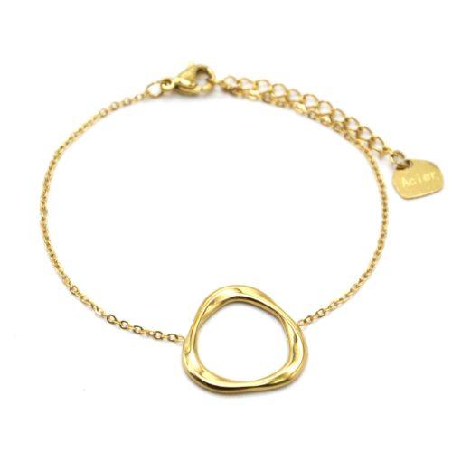 Bracelet-Fine-Chaine-avec-Triangle-Arrondi-Contour-Acier-Dore