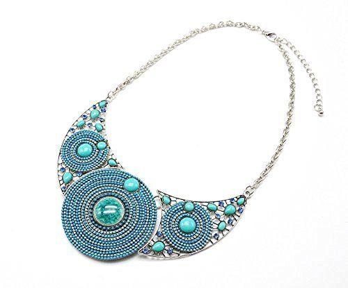 Bleu Cc727 Perles Cercle Plastron Orné Et Collier De Mode Fantaisie PierresStrass n0yv8OmwPN