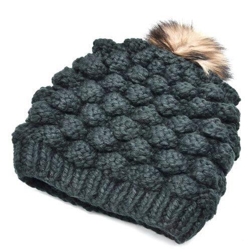 Bonnet-Hiver-Effet-Tricot-avec-Interieur-Polaire-Noir-et-Pompon-Fourrure